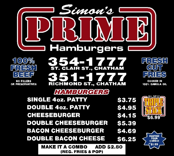 Simon's Prime Hamburgers-Chatham Menu 1